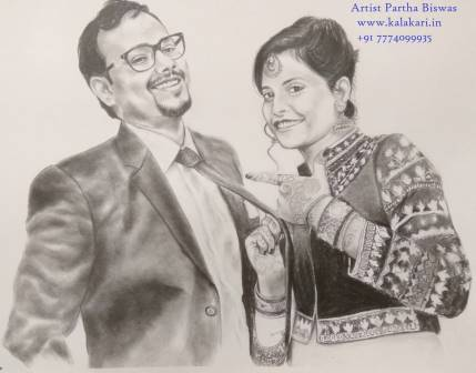 Couples handmade pencil sketch on