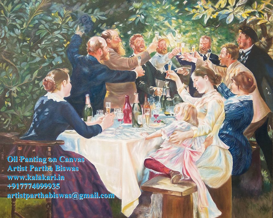 "oil painting on canvas. hip hip hurrah. Size: 23.4""x33.1"""