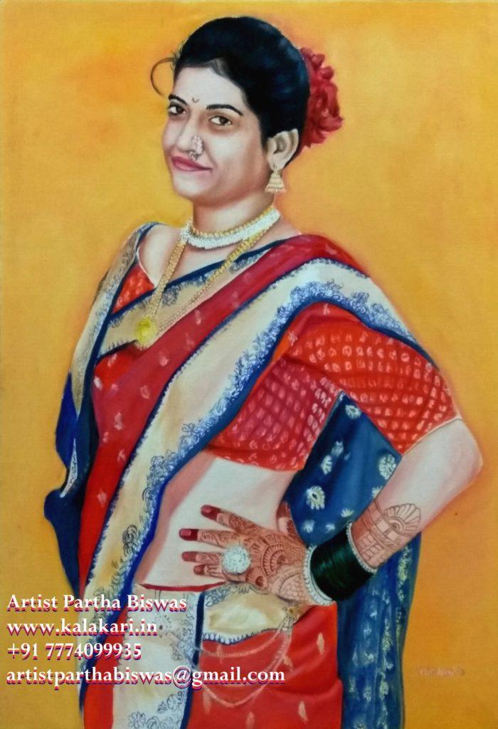 Marathi girl's Oil painting_birthday gift