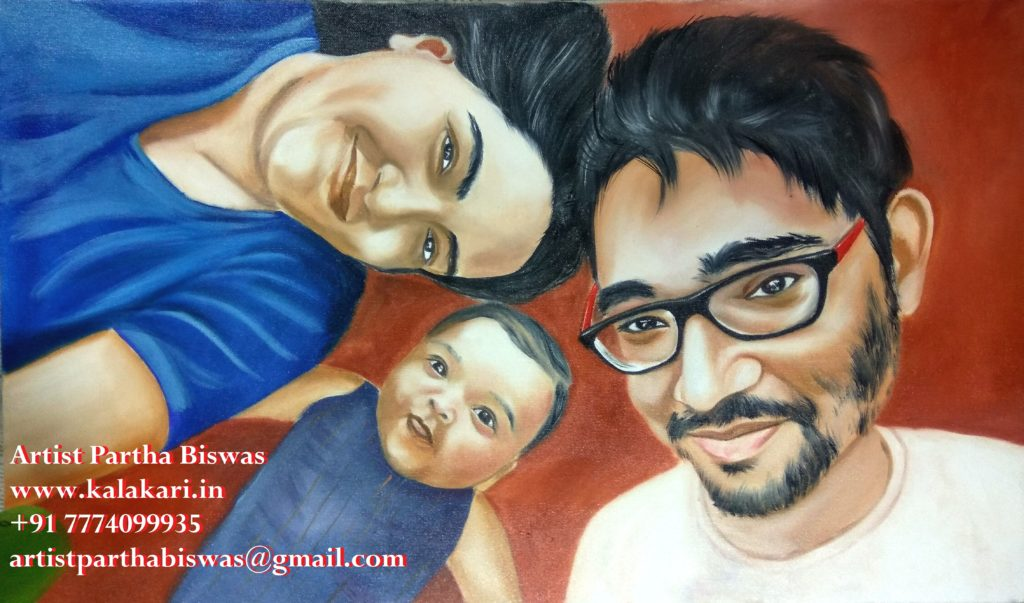 Oil painting on canvas_three members family portrait painting