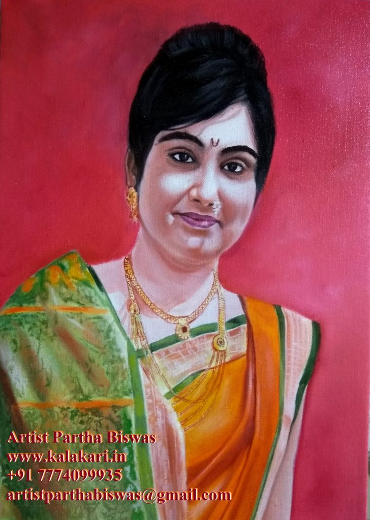 Oil painting of a marathi girls on canvas