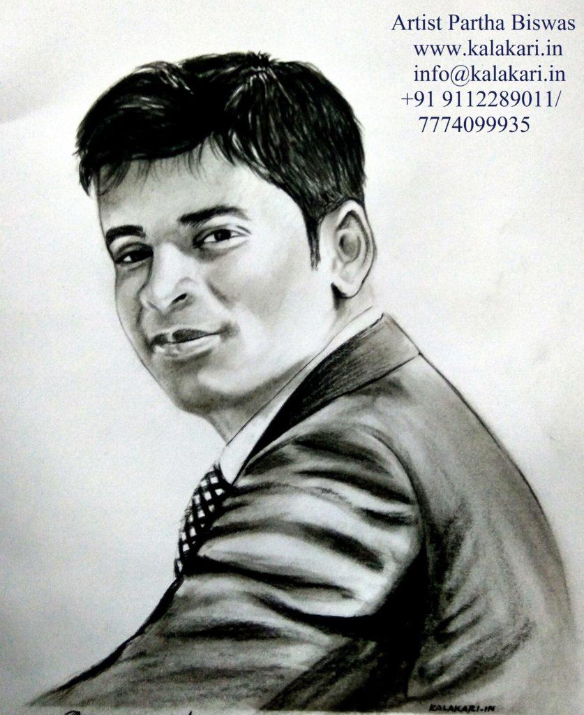 graphite pencil sketch of a handsome man