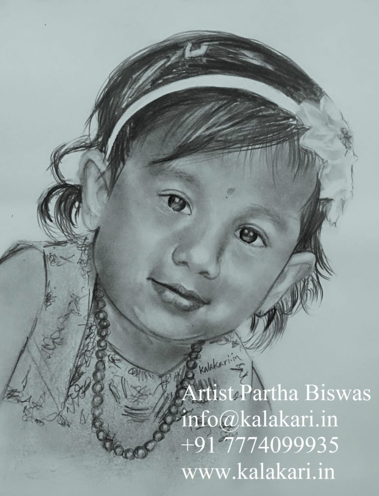 Pencil sketch of a little girl