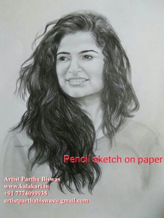 Graphite pencil sketch of a girl