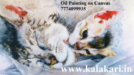 "oil painting of a cat on canvas. Size: 11.8""x16.5"""