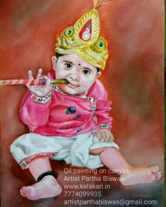 Krishna oil painting. cute little krishna oil painting