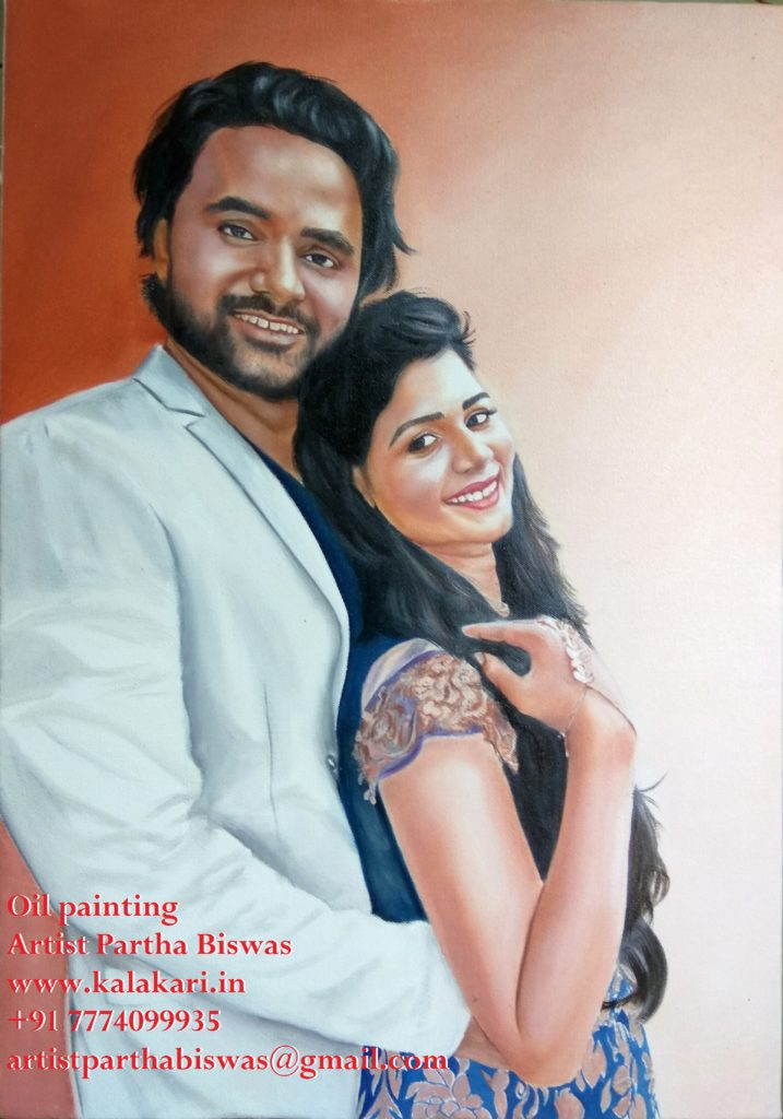couple portrait painting. oil painting of couple on canvas
