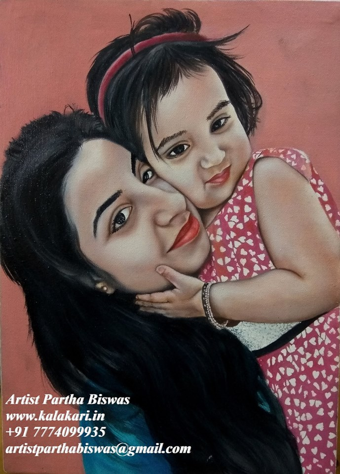 Mother and daughter Oil painting