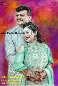 pencil color sketch. couple sketch