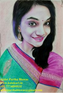 photo to colored pencil sketch | pencil colored portrait artist in mumbai