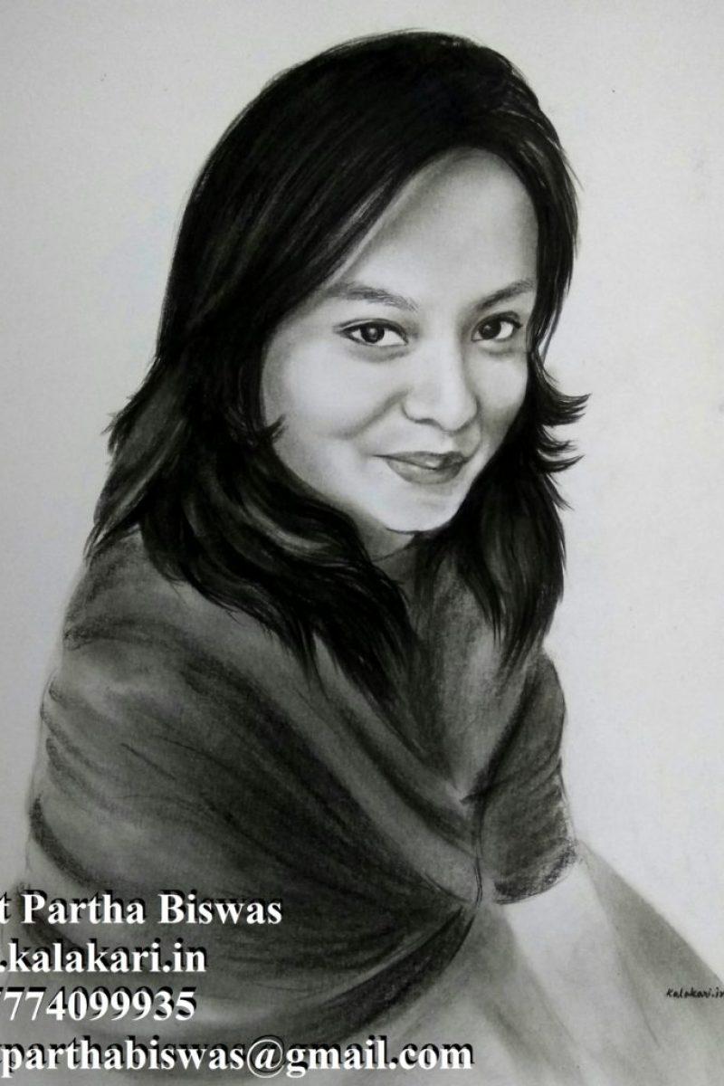Handmade charcoal portrait sketches