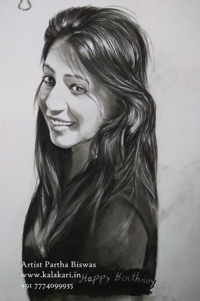 Charcoal sketch drawing of a beautful girl
