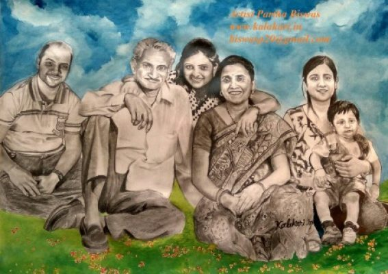 Family portrait with graphite pencil and watercolor. Mixed media sketch. on 11.7