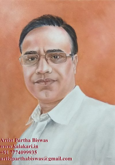 Oil painting on canvas. father portrait in oil color on canvas