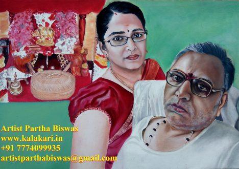 Oil painting of telegu family