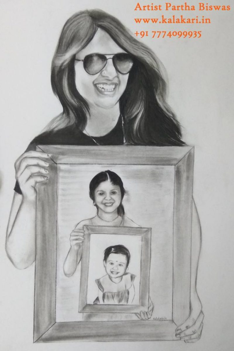 Three frame pencil sketch