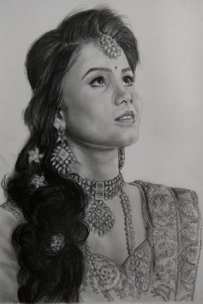 Pencil drawing by portrait artist in india