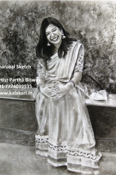 charcoal painting by portrait artist in mumbai, Inida