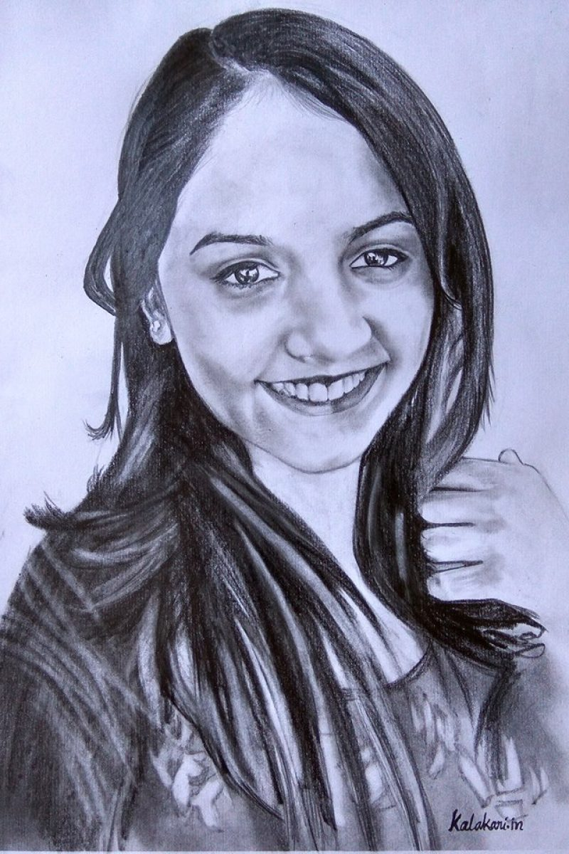 Charcoal sketch drawing of a smiling beautiful girl